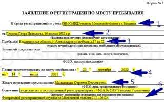Заполнение заявления о регистрации гражданина по месту жительства